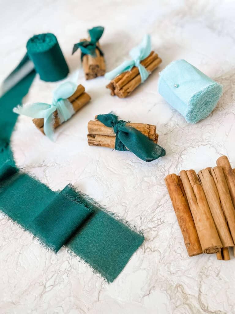 Cinnamon bundles tied with ribbons