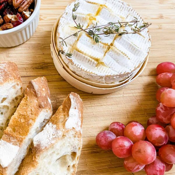 baked camembert with honey, pecans and cranberries
