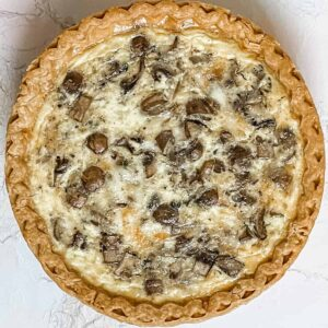 Cheese and mushroom quiche