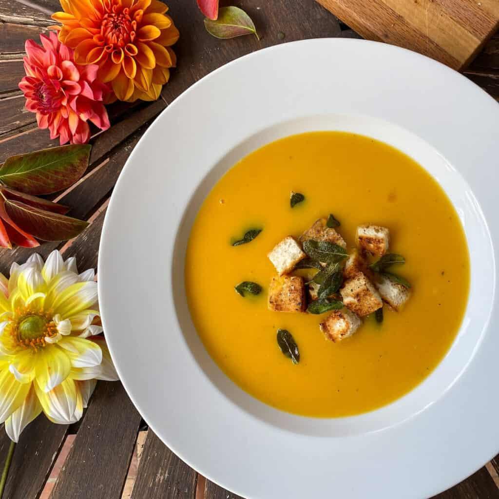 Butternut autumn squash soup with crispy sage