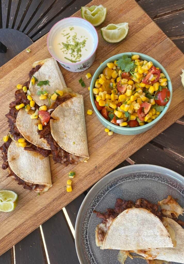 pulled chicken tacos with sweetcorn salsa