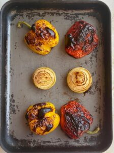 charred bell pepper and onion