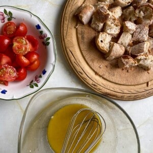 whisk the olive oil and mustard into the dressing