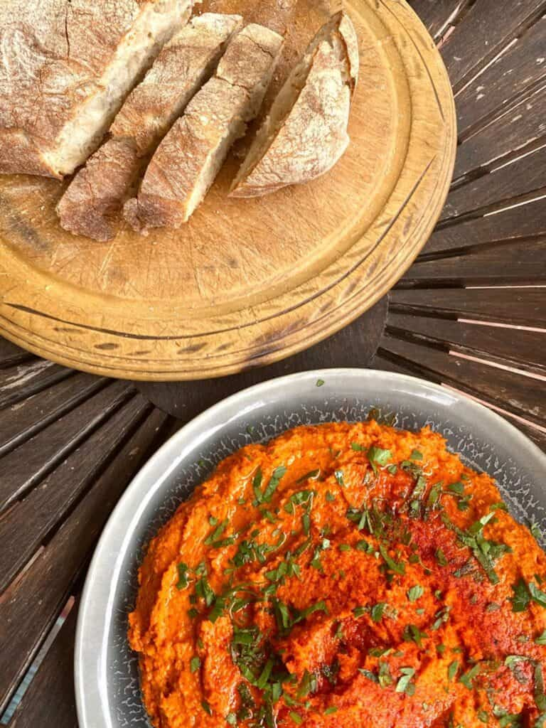 smoked paprika hummus with roasted red peppers with ciabatta bread