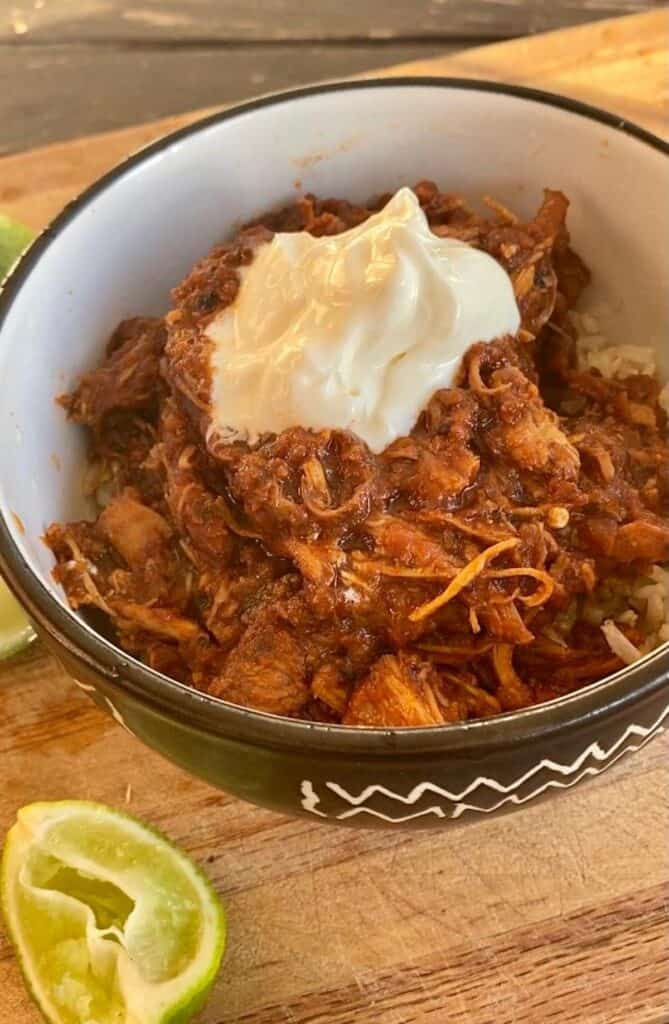 smoky pulled chicken with sour cream
