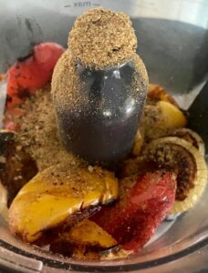 toasted spices blended with the grilled peppers and onions