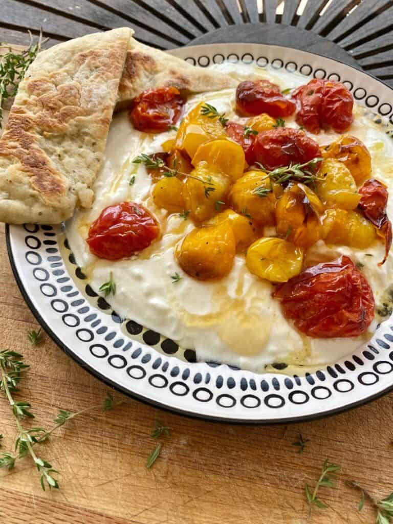 whipped feta dip with honey and roasted tomatoes