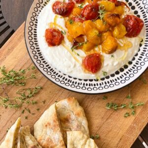 whipped feta dip with honey and roasted tomatoes by rosanna etc