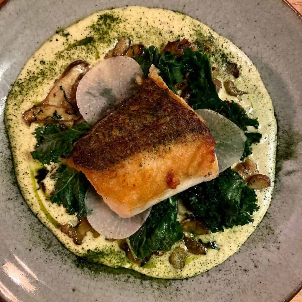 Fresh hake with a truffle beurre blanc at The Old Coastguard Inn