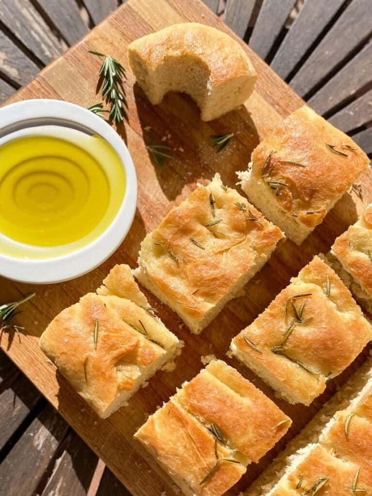 focaccia with rosemary and truffle oil
