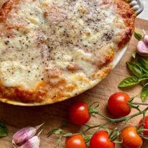 gnocchi al forno sizzling out the oven